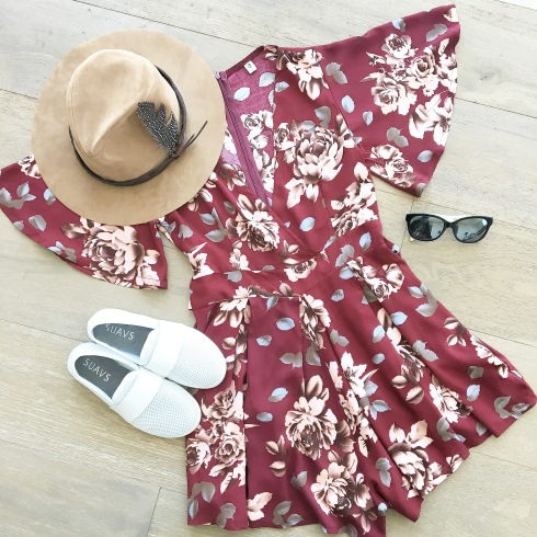 floral-romper-suavs-mirror-mirrored-sunglasses-hat-flatlay-shein-eyemart-express