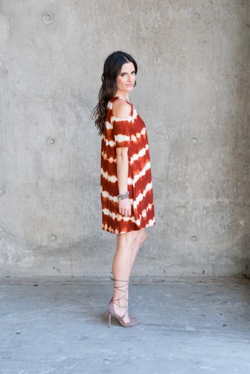 cold-shoulder-orange-dress