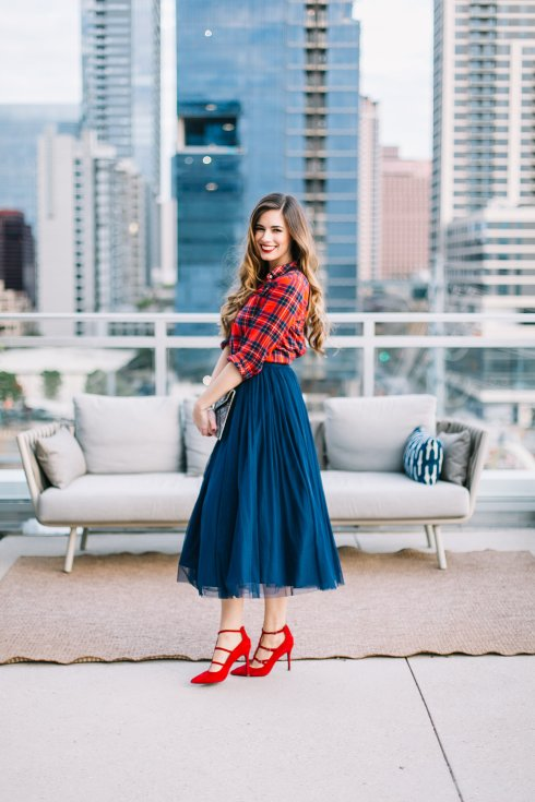 by-hilary-rose-blue-tulle-skirt-red-plaid-shirt-red-heels