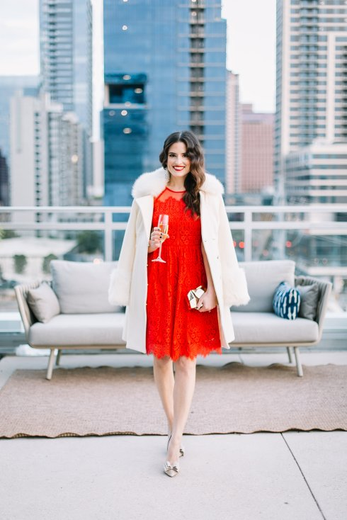 style-beacon-red-lace-dress-white-fur-jacket-sparkly-heels