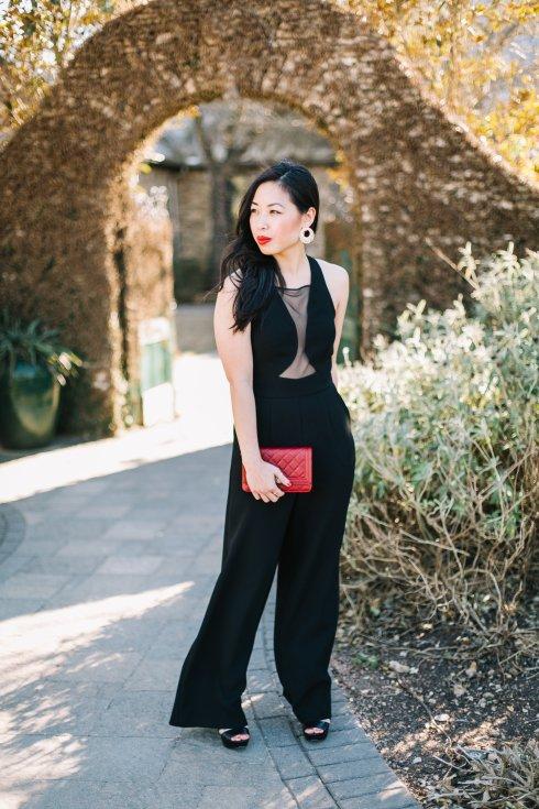 black-bcbg-jumpsuit-red-chanel-bag-bauble-bar-earrings