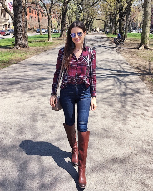 style-beacon-michelle-kuta-zuzek-fashion-blogger-travel-boston-commonwealth-ave-foxcroft-long-sleeve-button-up-herringbone-citizens-of-humanity-rocket-sculpt-highrise-skinny-jean-vince-camuto-riding-boots-gucci-marmont-matelasse-shoulder-bag-ray-ban-icons-50mm-round-lilac-mirror-lens-simple-strand-totally-tasseled-gray-earring-daniel-wellington-classic-black-sheffield-40mm-watch