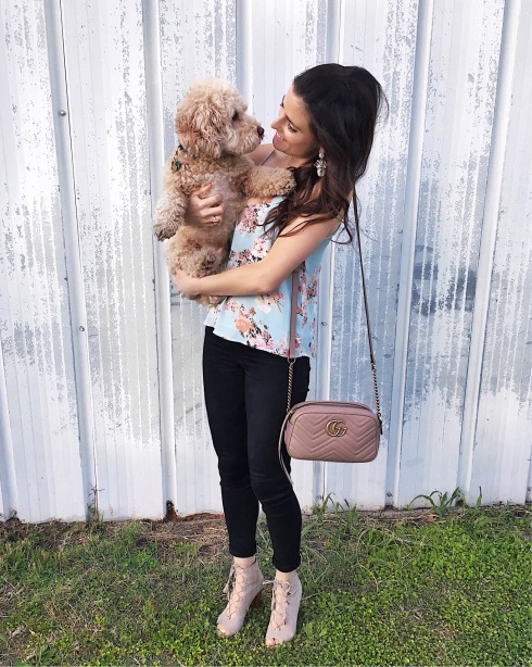 style-beacon-michelle-kuta-zuzek-fashion-blogger-with-puppy-dog-hudson-krista-coated-super-skinny-jeans-noir-coated-lush-keyhole-tank-nordstrom-frye-ash-gabby-ghillie-lace-up-heel-gucci-marmont-matelasse-shoulder-bag-bauble-bar-bliss-drop-earrings