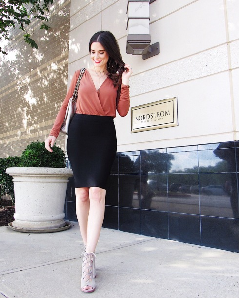 style-beacon-michelle-kuta-zuzek-fashion-blogger-bcbg-bcbgeneration-low-v-bodysuit-rustic-bcbgmaxazria-leger-high-waist-bandage-skirt-frye-ash-gabby-ghillie-lace-up-heel-gucci-soho-leather-shoulder-bag-ysl-nordstrom-beauty