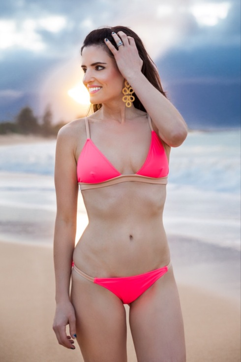 bright-pink-style-solid-and-striped-bikini-fashion